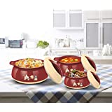 Milton Delish Sr Insulated Inner Stainless Steel Casserole Gift Set of 3, Brown