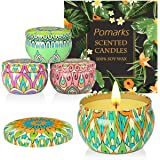 Pomarks Coffret cadeau bougies parfumées, 4 boîtes en cire de soja 100% naturelle avec des huiles essentielles pour soulager