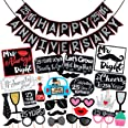 Wobbox 25th Anniversary Photo Booth Party Props DIY Kit with 25th Anniversary Bunting Banner, Red Glitter & Black , Anniversa