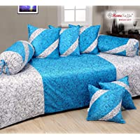 Homesajja Premium Velvet Diwan Set of 8pc - (1 Diwan Sheet with 2 Bolsters with dori and 5 Cushion Covers) (Aqua)