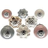 knoa - Pomos de cerámica y cristal, blanco, gris, rosa pastel y efecto craquelado (juego de 8)