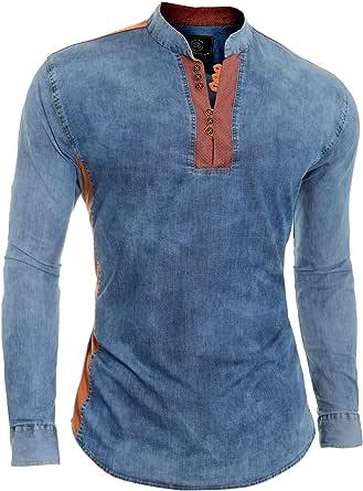 Men's Blue Denim Jean Shirt V-Neck Grandad Collar Orange Elbow Patches Cotton