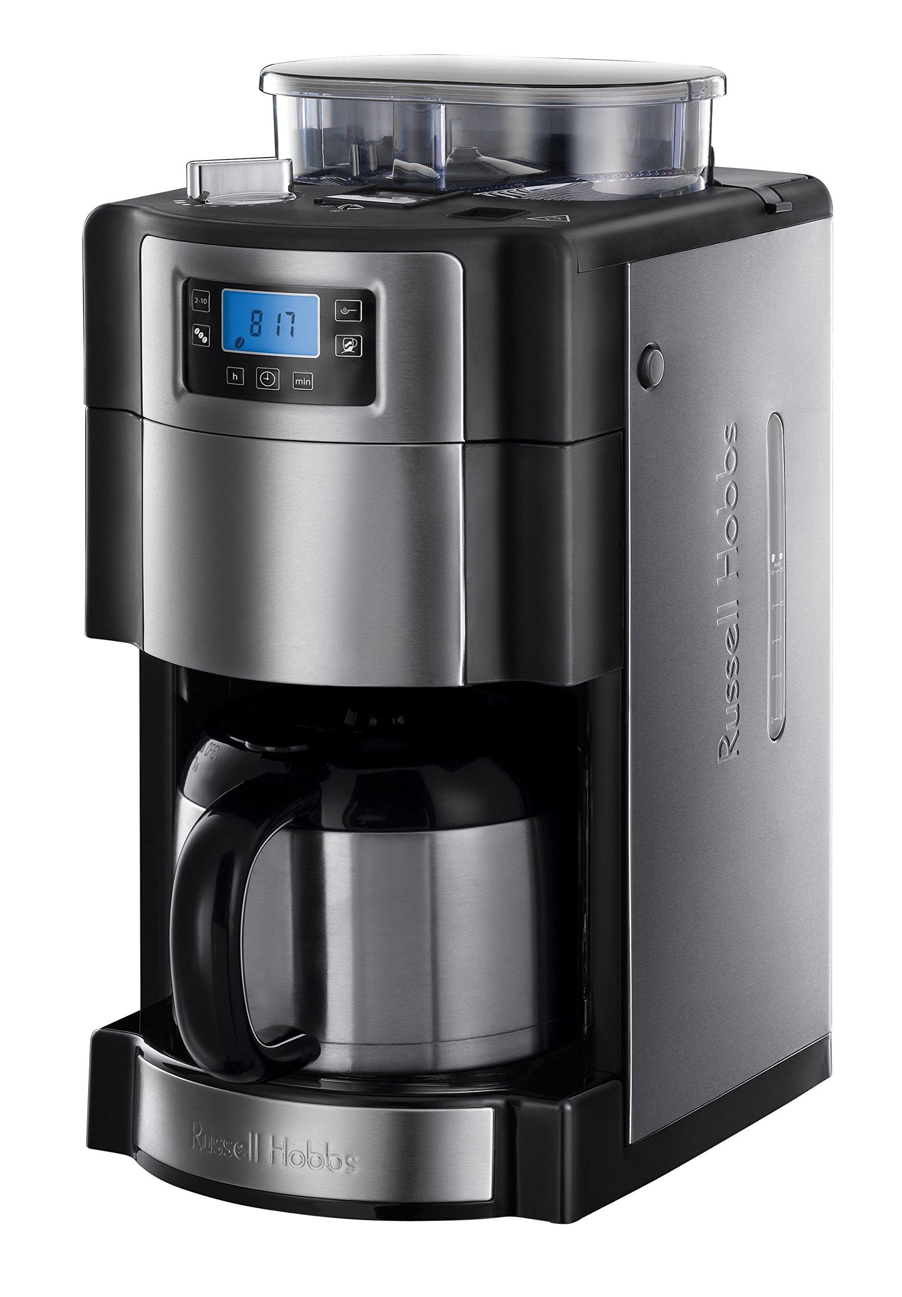 Russell-Hobbs-Digitale-Thermo-Kaffeemaschine-Buckingham-GrindBrew-125l-integriertes-Mahlwerk-Thermokanne-1000-Watt-21430-56-Edelstahlschwarz