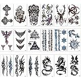 Konsait 18 fogli finti tatuaggi temporanei neri impermeabile Tatuaggio Temporaneo Tattoo Sticker per adulti uomo donna bambini