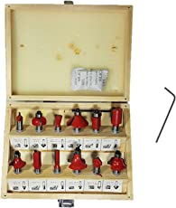 Inditrust 8mm 12 Pcs Router trimmer bits set with wooden box for wood working Rotary Tool (12 mm)