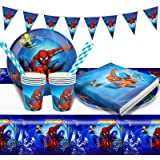 Gxhong Decoration Anniversaire Spiderman,52pcs Vaisselle de Fête Kit Anniversaire Avengers Decoration Table Superhéros Annive
