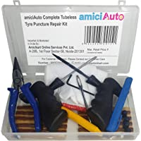 amiciKart Auto Complete Tubeless Tyre Puncture Repair Kit with Box (Nose Pliers, Cutter and Strips)