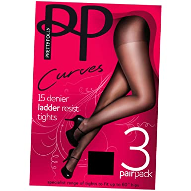 dedbb9363fd Pretty Polly Curves 15 Denier Run Resist Tights (XL) (3 Pair Pack) (Barely  Black)  Amazon.co.uk  Clothing
