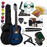 Pack Guitare Classique 4/4 (Adulte) 6 Accessoires Cour Vidéo et DVD (Bleu)