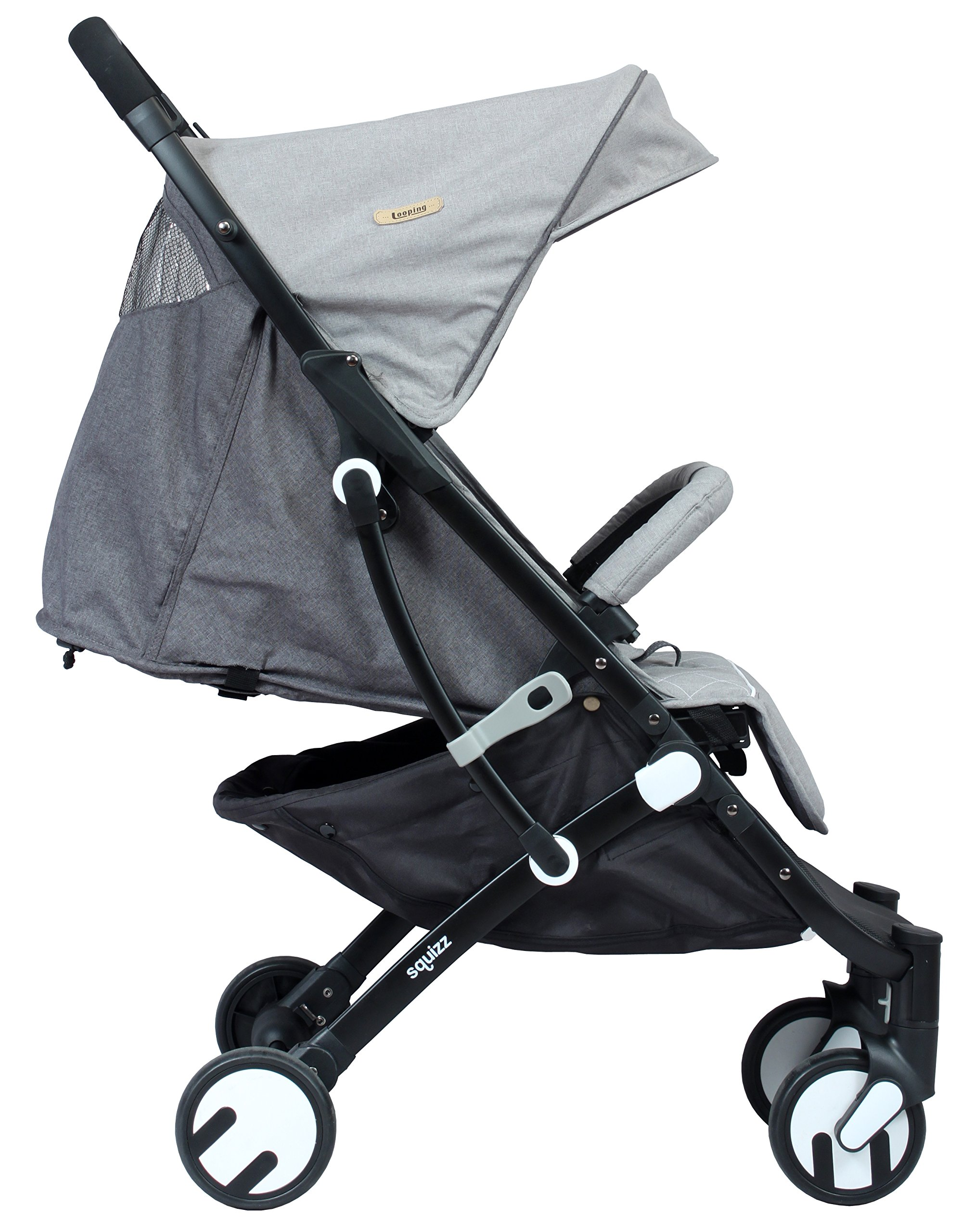 LOOPING Poussette compacte Squizz 2 Z15 - Gris chiné Looping Very compact babies's pushchair from birth up to 15kg. Smart pull-along handle that enables you to pull the pushchair. Folds up and unfolds with one hand. Large canopy to better protect your baby- Removable and opening bumper bar to keep your baby in place. 5