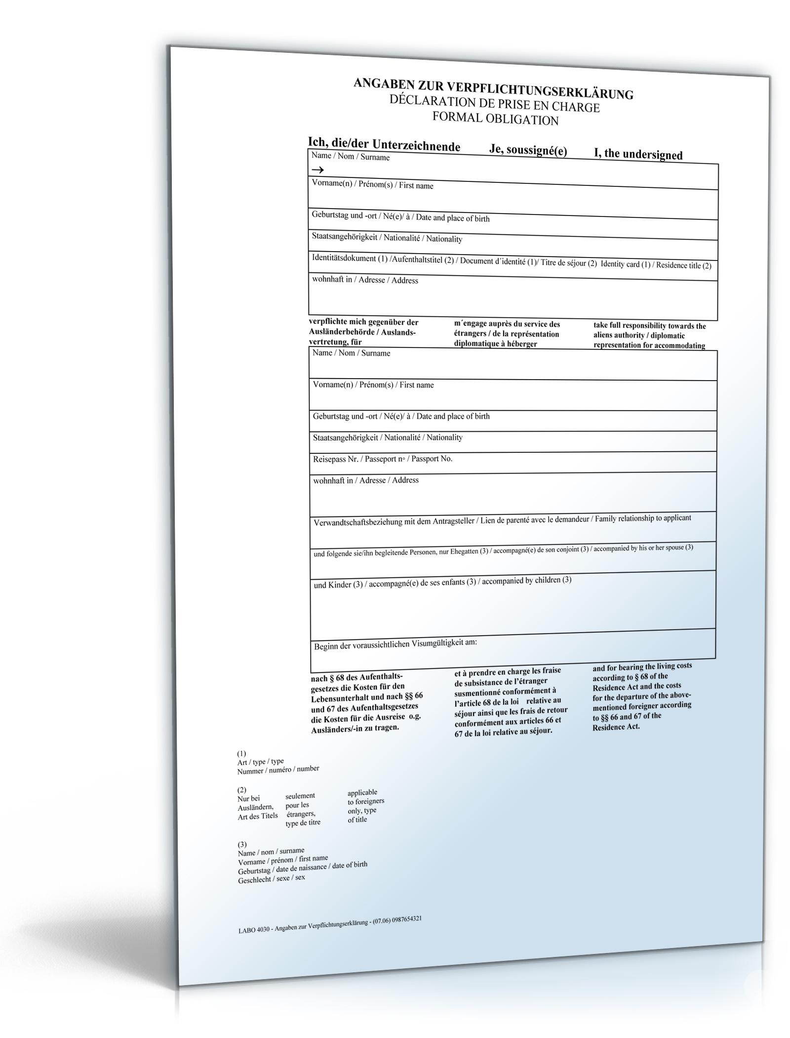 Verpflichtungserklärung für Einladung visumspflichtiger Ausländer [PDF Download]