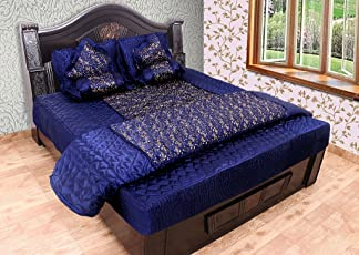 ooltah chashma Gold printed Satin Double Bedding Set (Set of 8 Pieces)