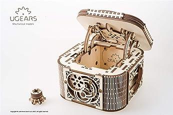 UGEARS Wood Treasure Box with Key Secret Hidden Puzzle Trinket, Keepsake and Jewelry Storage Small