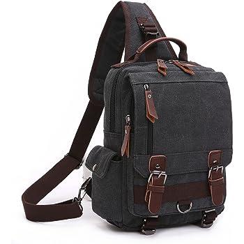 4310d990b8 BAOSHA XB-14 Canvas Men Sling Backpack Bag Cross Body Messenger Bags  Shoulder Bag Travel Hiking Rucksack Chest Bag Black