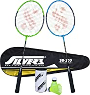 Silver's SB-100 Combo-2 (2 B/Rackets with 1 Full Cover + 2 Pcs Plastic Shuttle) Green-Blue