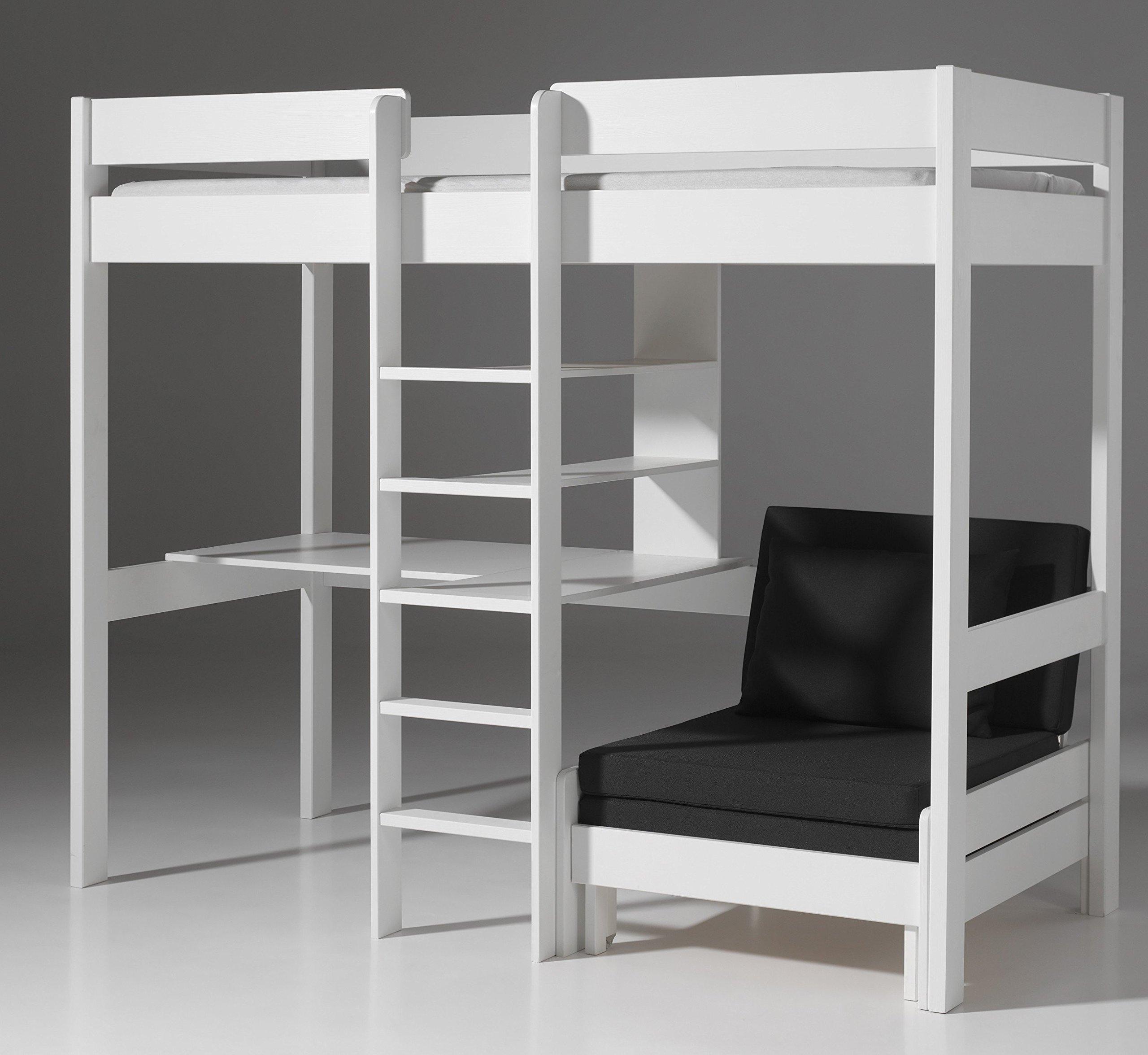 alfred compagnie letto a soppalco con scrivania pino colore bianco. Black Bedroom Furniture Sets. Home Design Ideas