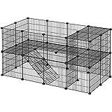 SONGMICS kooi, 36 platen, 2 niveaus, 143 x 71 x 73 cm, box voor kleine dieren en cavia's, incl. rubberen hamer, voor binnen,