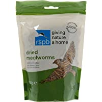 RSPB Dried Mealworms 100g Wild bird Food, supporting RSPB Charity, meal worm, Re-sealable & recyclable pouches, for use in Garden & outdoors. Perfect for Feeders, ground feeders & bird tables