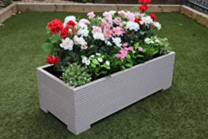 LARGE WOODEN OUTDOOR GARDEN PLANTER TROUGH cm Muted Clay 150x32x43