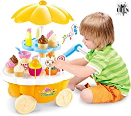 CIERN Ice Cream Kitchen Play Toy Set with Lights and Music (Multicolour)