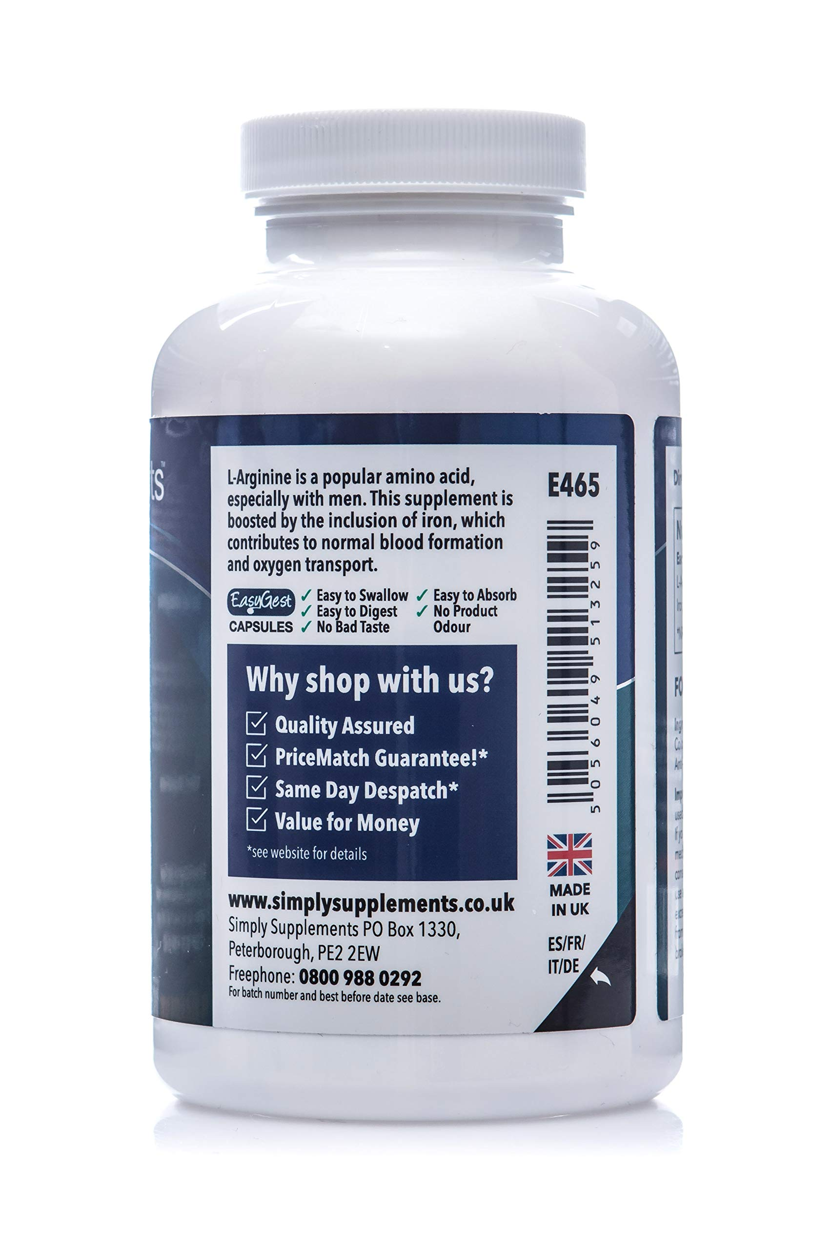 81W69NMUPNL - L Arginine 500mg Capsules | High Strength Supplement Includes Iron to Reduce Tiredness & Fatigue | 240 Capsules = 80 Days Supply | Manufactured in The UK