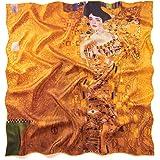 prettystern 90cm quadrati Sciarpa Donna in Twill Di Seta Bordi Colorata Con stampa d'arte