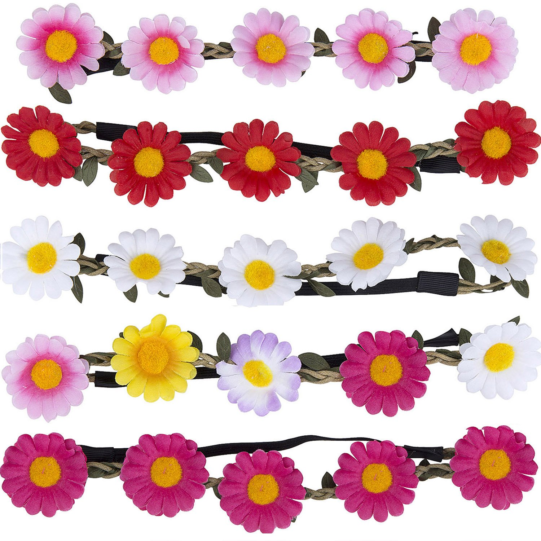 Flor Corona Diadema – ZWOOS 5 Piezas Corona de Flores Guirnalda Flores Artificiales para Boda Fiesta Viaje Fotografía