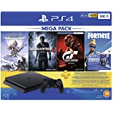 Sony PlayStation 4 500GB Console (Black), 3 Months PSN Subscription and 4 Games Mega Pack Bundle