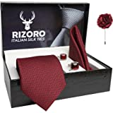 Rizoro Mens Plaid Micro Self Silk Necktie Gift Set With Pocket Square Cufflinks & Brooch Pin Formal Tie With Leatherite Box (