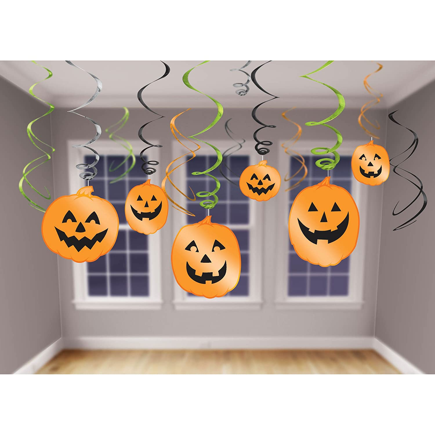 amscan international 679467 decoration hanging swirl halloween party set amazoncouk toys games - Halloween Hanging Decorations