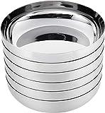 Amazon Brand - Solimo Stainless Steel Elyssa Halwa/Dessert Plate Set (6 pieces, 12.5cm dia)