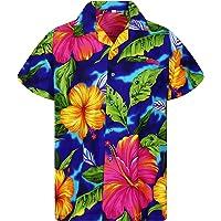 V.H.O. Funky Hawaiian Shirt   Men   Short-Sleeve   Front-Pocket   Hawaiian-Print   Big Flower   Multiple Colours