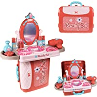Wishkey 3 in 1 Carry Along Beauty Set Makeup Case Toy with Pretend Play Cosmetics & Accessories in Portable Vanity…