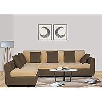 Adorn India Wood Rio Decent L Shape 5 Seater corner Sofa Set Left Side Handle (Brown and Beige)