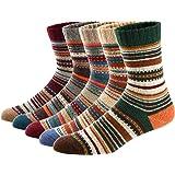 Ueither - Juego de 5 pares de calcetines altos de lana tejida con un estilo vintage, unisex, para el invierno y el otoño