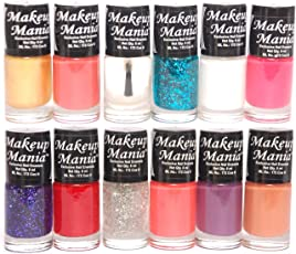 Makeup Mania Nail Polish Set Combo (Golden, Silver, Red, White and Glitter, Pack of 12)