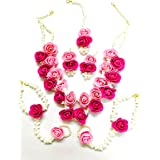 QUVYARTS Floret Pearl Designer Pink Flower Jewellery Set with 6 Items for Women
