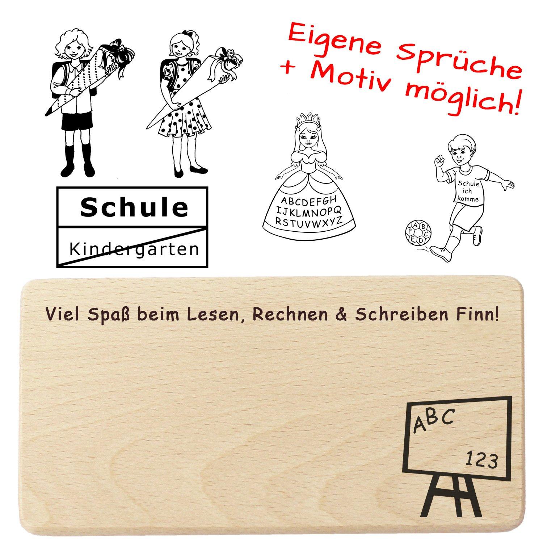 Schulanfang Frühstücksbrett Personalisiert Mit Name Spruch Motiv