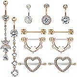 YADOCA Acciaio Inox Nipplerings Capezzoli Anelli Tongue Ring Cz Barbell Anelli a Forma di Cuore Body Piercing Jewelry Set per