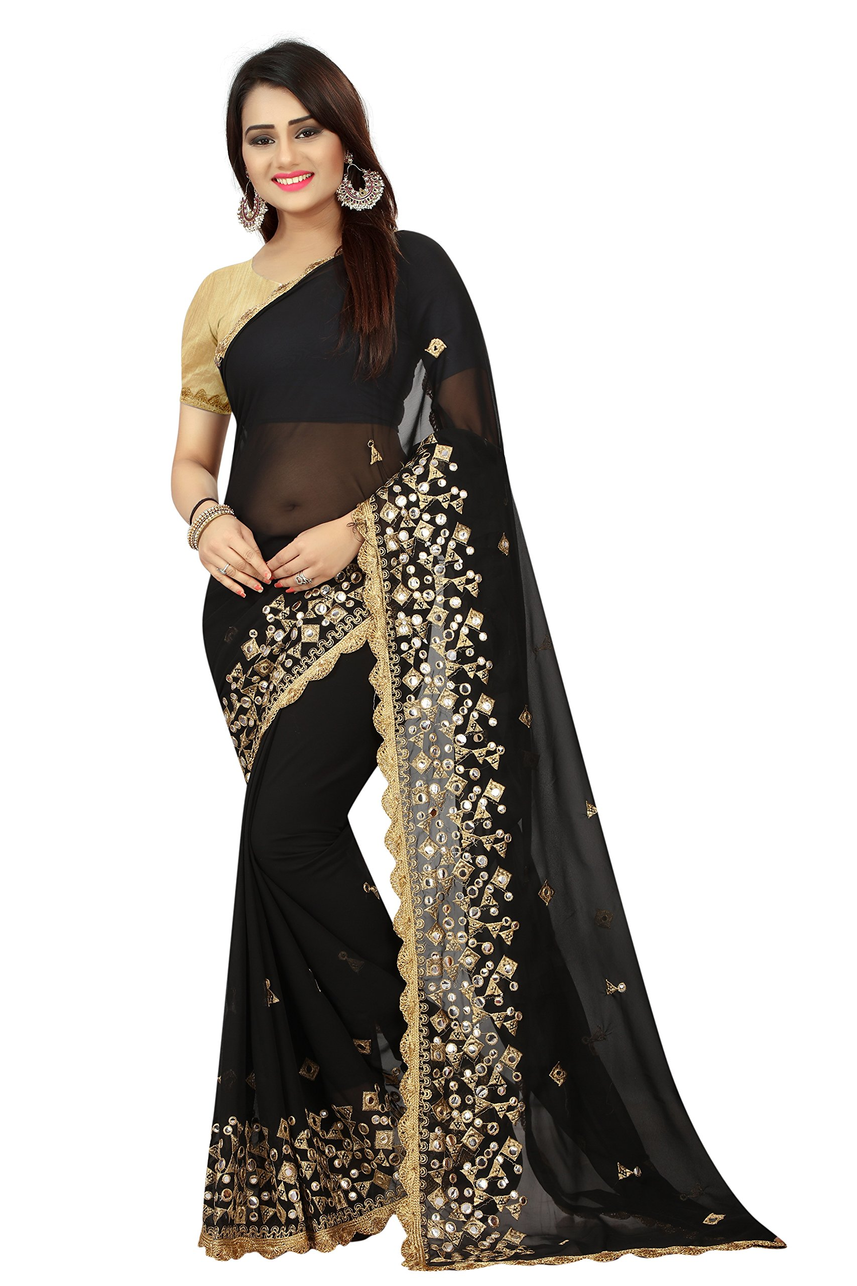 53ab7faed5 Shailaja Saree Women's Georgette Zari Embroidery And Foil Mirror Glass Work  Wedding Wear Saree With Blouse Piece