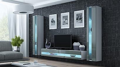 Wohnwand VIGO NEW3, Anbauwand, Wohnzimmer Möbel, Hochglanz !!! Mit LED  Beleuchtung