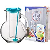 MamboCat Krug/Kanne/Karaffe Kufra aus Glas 2L mit Eis/Eiswürfel-Einsatz und türkisem Rührstab und Deckel + Sirup Rezeptheft