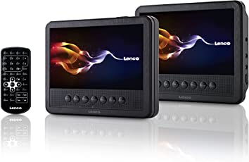 Lenco Tragbarer DVD-Player MES-212 mit 2X 17,5 cm (7 Zoll) Monitor Dual-Screen, USB, Fernbedienung schwarz