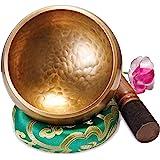Original Tibetische Klangschale - 13cm. Klangschalen Set mit Klöppel und Klangschalenkissen in Loktapapier Geschenk-Box. Singing Bowl aus Tibet