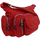 ekavale Wasserabwesende hochwertige leichtgewichte Damen-Handtasche Umhängetasche aus Crinkle Nylon (Rot)