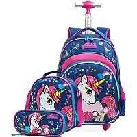 HTgroce Einhorn Schulranzen Rucksack Trolley mit 2 Rollen für Kinder Mädchen,Nylon,Kinder Schultrolley Geeignet für…