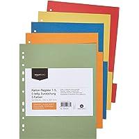 Amazon Basics Intercalaires - Manille recyclée, poinçon Euro, extra-large avec 5 onglets dans 5 couleurs, 24 x 29,7 cm…