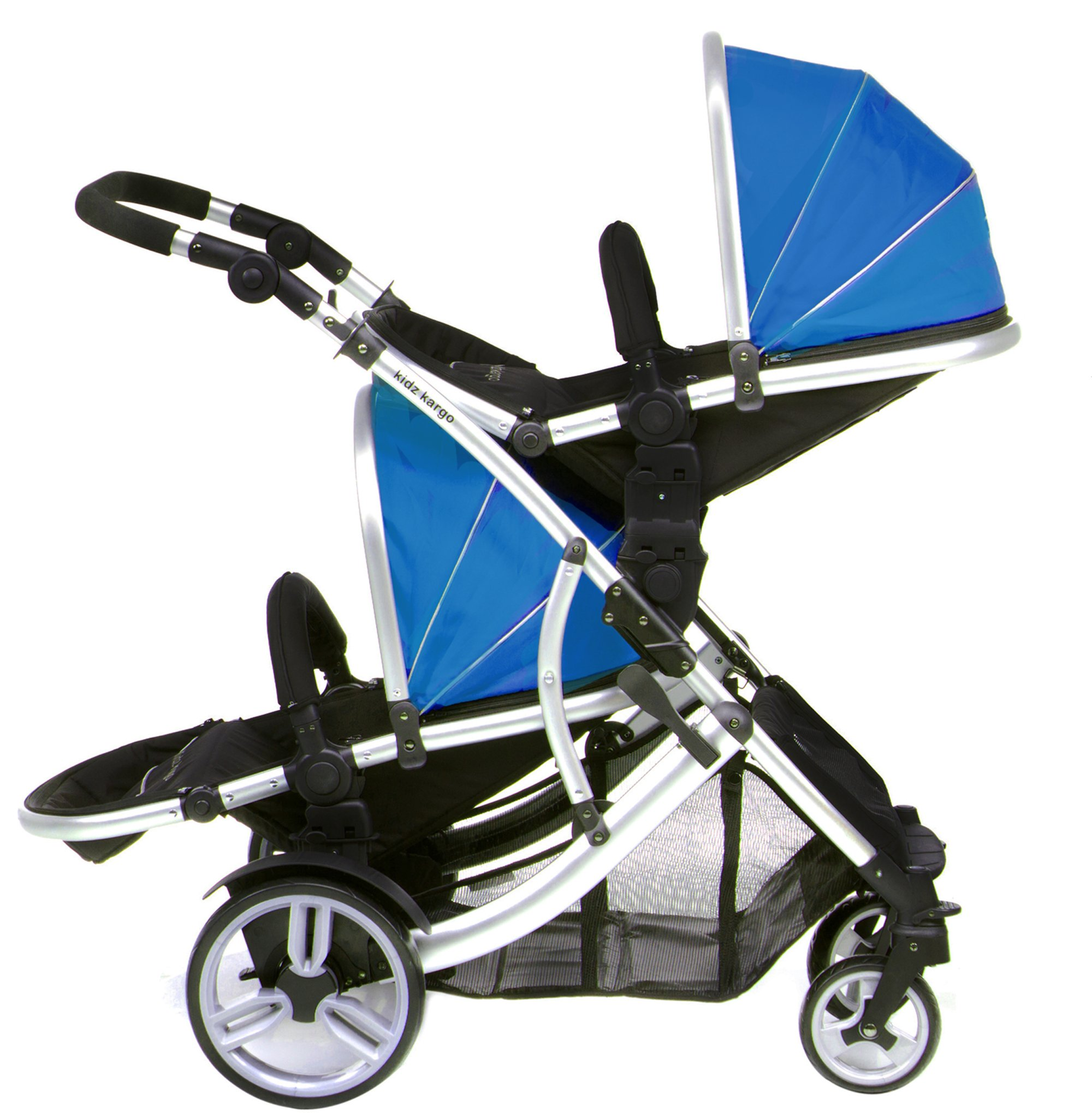 DUELLETTE 21 BS Twin Double Pushchair Tandem Stroller buggy 2 seat units, compatible with Kids Kargo safety Pod Car seat OR maxi cosi clips or Britax Baby safety Car seat. (sold separately) 2 Free Teal footmuffs 2 Free rain covers Black /Teal Silver chassis Ideal for Twins or Baby Toddler by Kids Kargo Kids Kargo Demo video please see link http://youtu.be/Ngj0yD3TMSM Various seat positions. Both seats can face mum (ideal for twins) Suitability Twins (Newborn Twins if used with car seats). Accommodates 1 or 2 car seats 3