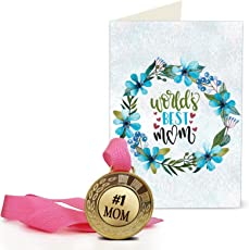 Greeting cards buy greeting cards online at best prices in india tied ribbons paper birthday gift for mother worlds best mom printed greeting card with golden medal m4hsunfo