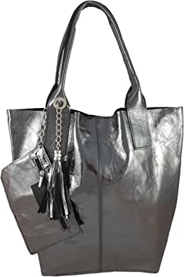 Freyday Damen Echtleder Shopper mit Schmucktasche in vielen Farben Schultertasche Henkeltasche Handtasche Metallic look S03